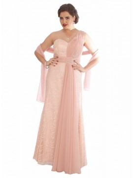 Lace and Chiffon Evening Dress in Pink