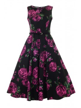 Vintage Hepburn Dress in Purple Rose
