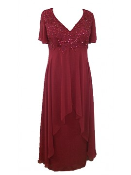 Full Length Chiffon Evening Dress with Beading in Ruby
