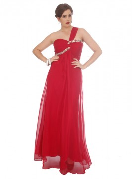 One Shoulder Crystal and Chiffon Evening Dress in Red