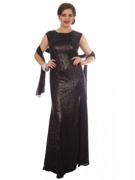 Black Sequin Full Length Evening Dress with side split