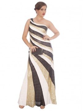 One Shoulder Sequin Stripe Evening Gown