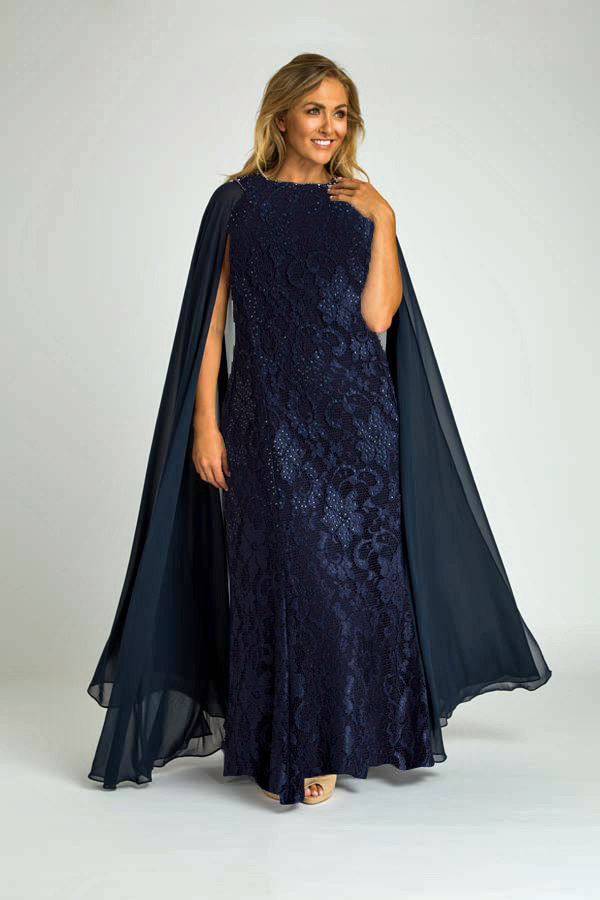 1b9fc6fe32 Crystal Studded Lace Evening Gown with Chiffon Cape
