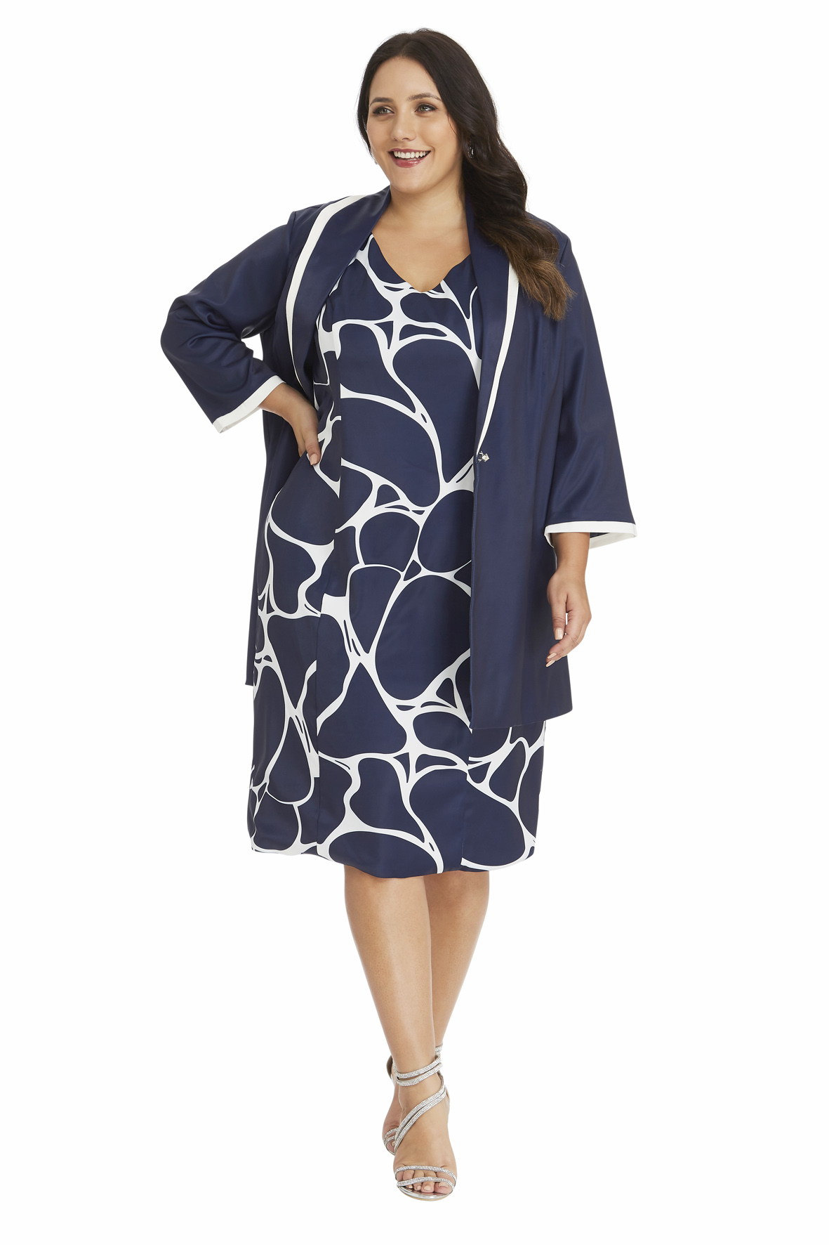 3446f6accad Abstract Print Dress with Sateen Jacket in Navy