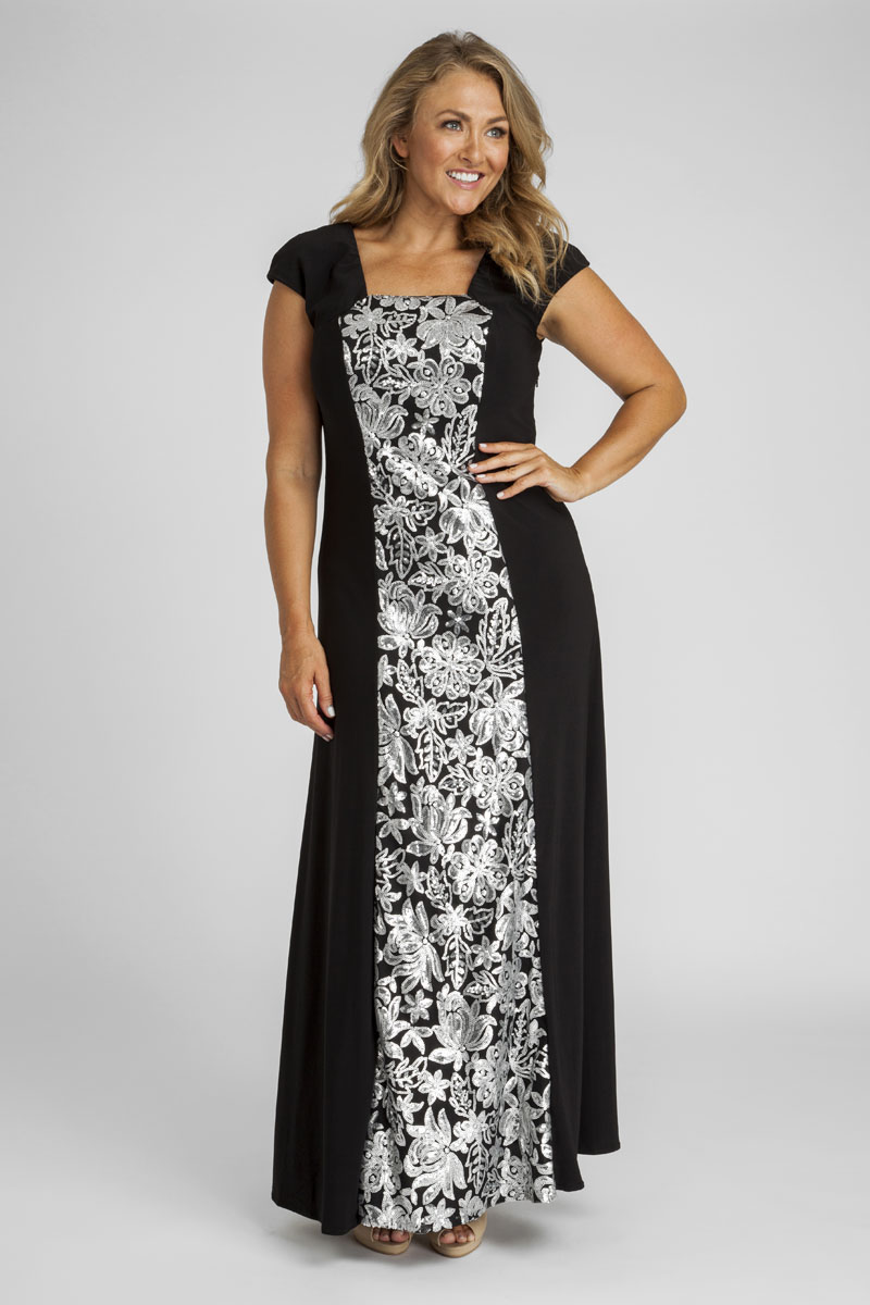 e6d6c7365a854 Sequin and Jersey Evening Gown in Silver
