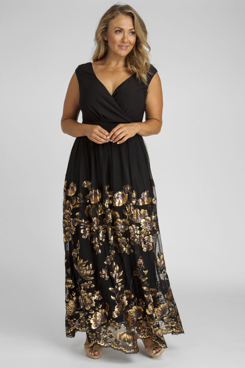 46309a11ad5 Antoinette Sequin Plus Size Gown in Gold