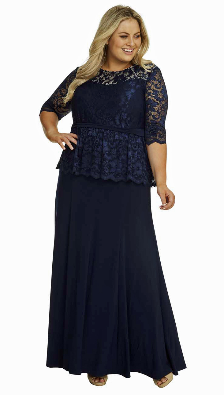 68bcfddcb53 All Star Special Peplum Lace and Jersey Gown in Black