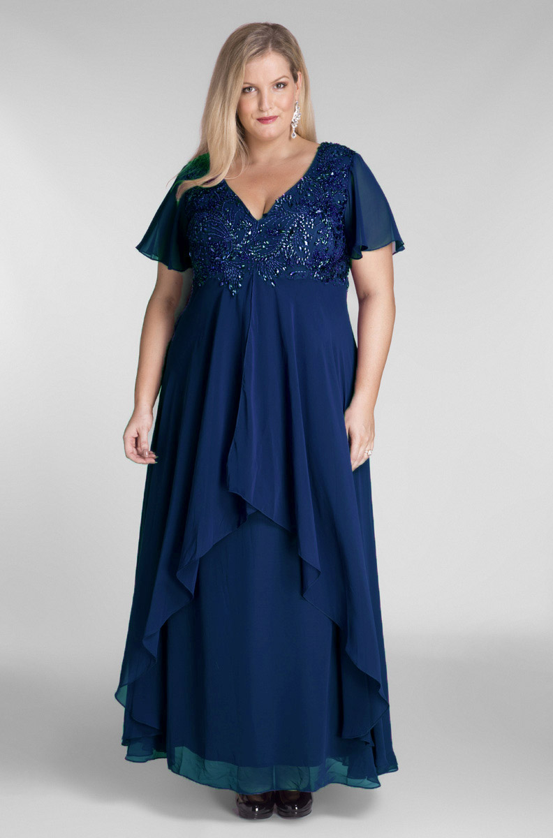 655e4ffa1f3 Full Length Chiffon Evening Dress with Beading in Navy
