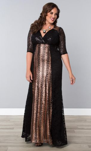 956f5263a7 Kiyonna Gatsby Sequin Evening Gown - Rose Gold