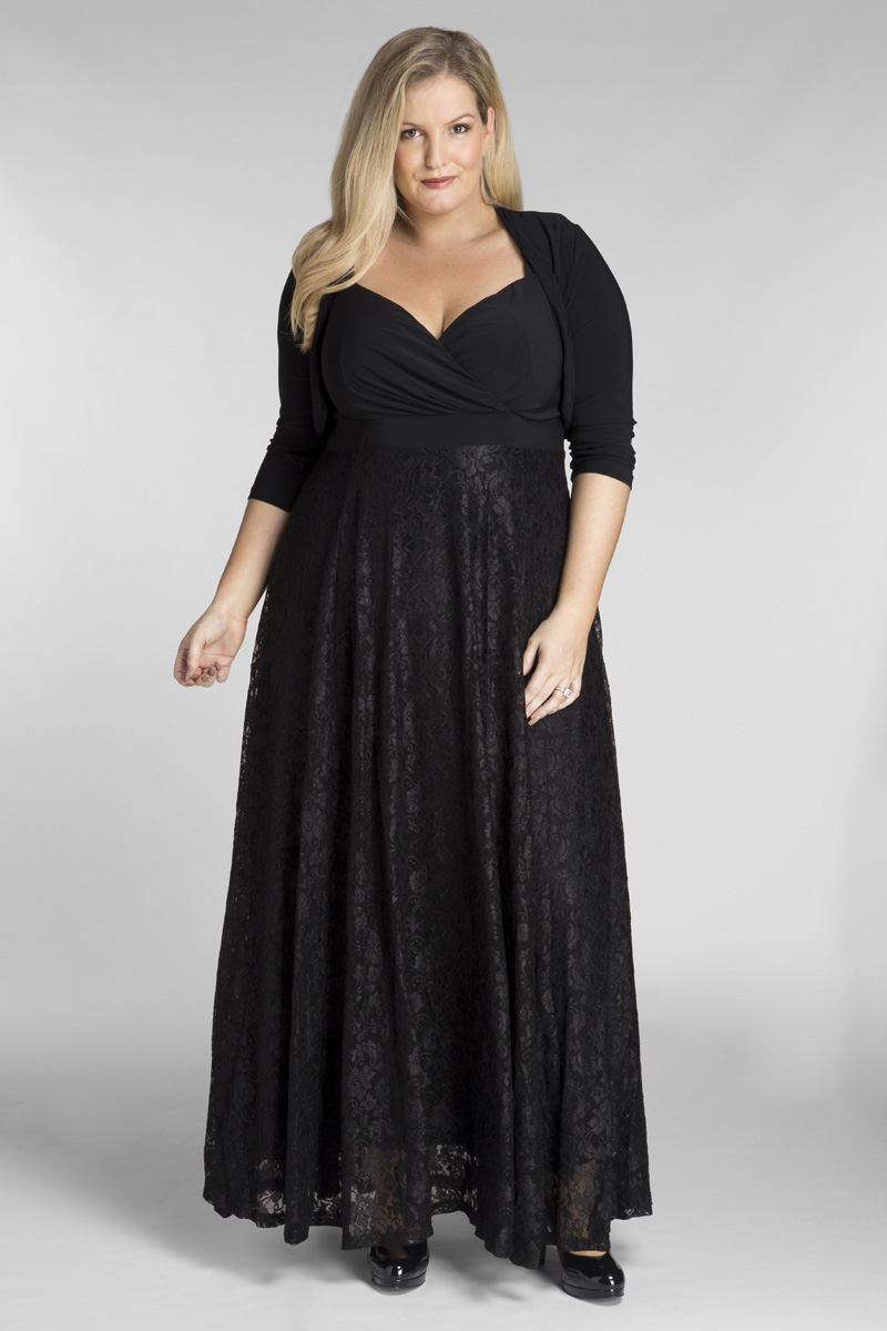 2ca4deaaeb7 Bella Plus Size Maxi Dress in Black Lace with Jacket